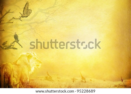Textured out of africa background with copy space. - stock photo