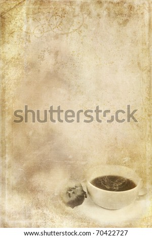 Textured paper background with steaming cup of coffee in lower corner and copy space. - stock photo