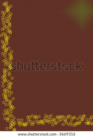 Textured paper with golden stars border - stock photo
