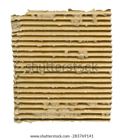 Textured ribbed cardboard with torn edges isolated over white - stock photo