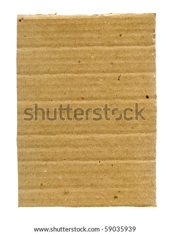 Textured ribbed recycled cardboard isolated on white - stock photo