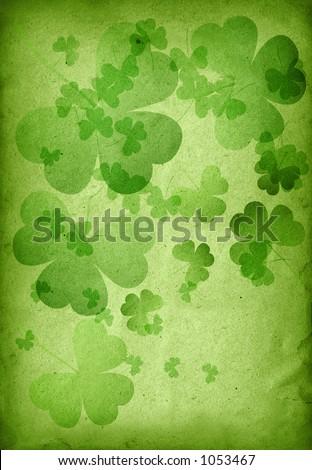 textured shamrock background - stock photo