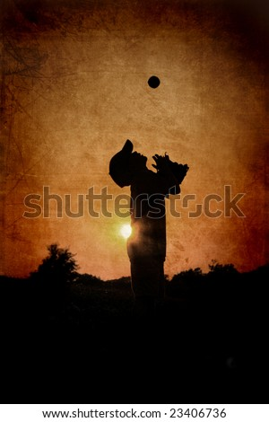 Textured Silhouette of Young Boy Playing Baseball