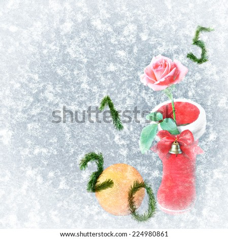 Textured snowflakes paper with Red Christmas boot,rose flower,orange fruit and numbers Two thousand fifteen-2015 New Year symbols made of christmas tree branches - Christmas and New year background   - stock photo
