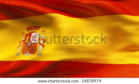 Textured SPANISH cotton flag with wrinkles and seams - stock photo