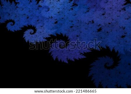 Textured spiky wave / spiral design on black background - stock photo