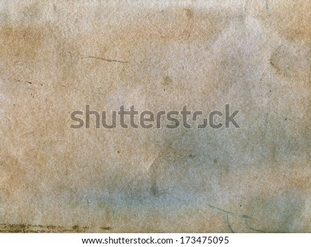 Textured stained dirty rough recycled paper with natural fiber parts - stock photo