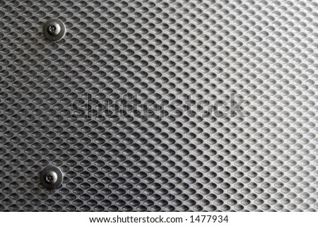 Textured Steel Plate. Dimpled industrial feel with screw heads and fixings. - stock photo
