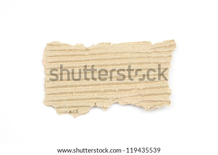 Textured striped cardboard with torn edges isolated over white