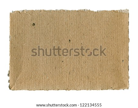 Textured striped rough cardboard with torn edges isolated over white - stock photo