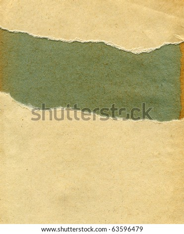 Textured torn dirty paper with natural fiber parts - stock photo