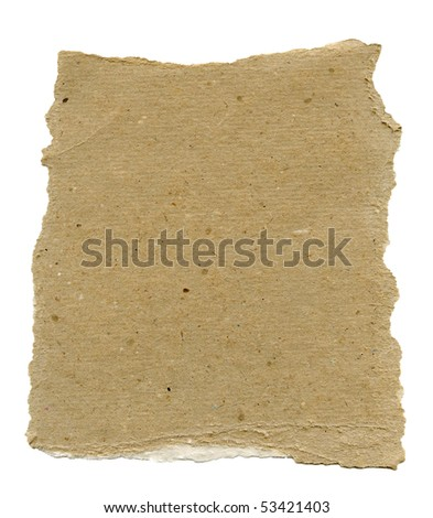 Textured torn recycled paper with natural fiber parts - stock photo