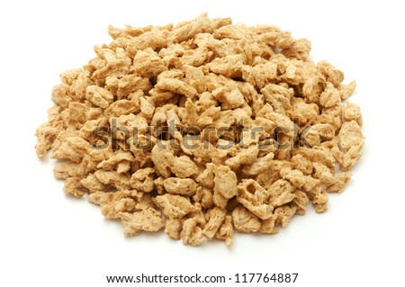 Textured vegetable protein on a white background