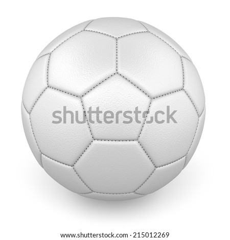 Textured white leather football ball - stock photo