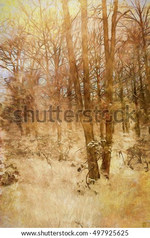 Textured winter scene of Pennsylvania woods turned into a painting