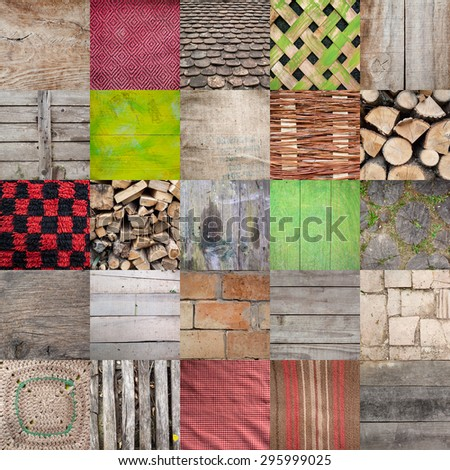 Textures found in village household, set of 25 different textures. Old wooden patterns, fabric, blankets, roof tiles, burlap and similar. Every square pattern of 1200 pixels resolution size.  - stock photo