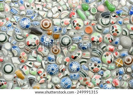 textures of ceramic bowl vase cup broken  - stock photo