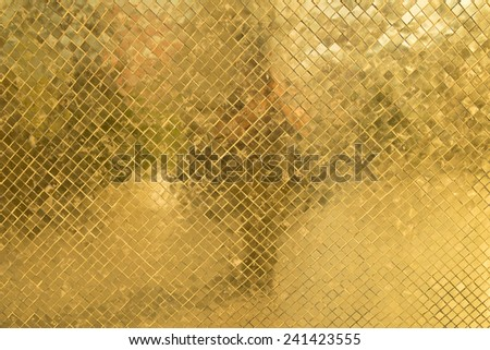 Texure of rich golden mosaic close up - stock photo