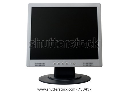 TFT monitor isolated over white background with clipping path - stock photo