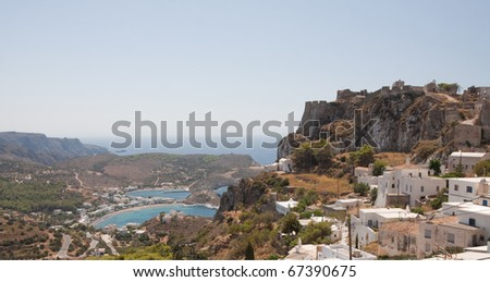 Tha Kapsali bay and the castle of Kithira island, Greece