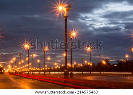 Tha non Utthayan bangkok at night. - stock photo