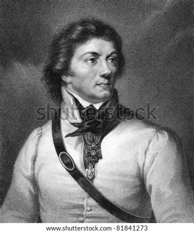 Thaddeus Kosciuszko (1746-1817). Engraved by W.Holl and published in The Gallery Of Portraits With Memoirs encyclopedia, United Kingdom, 1837.