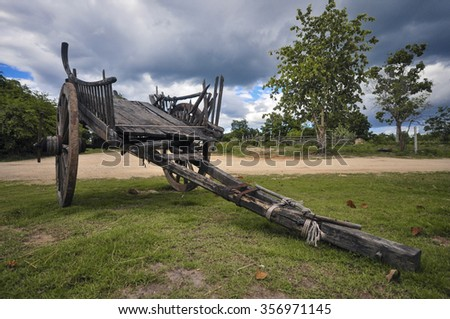 "Thai ancient cart made ??of wood. Used for filming movies ""The Legend of King Naresuan""."
