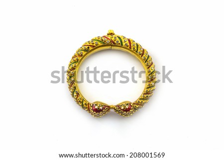 Thai ancient style golden bracelet good for collection isolated on white background. - stock photo