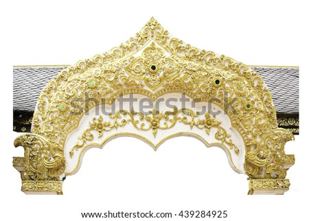 Thai ancient white plaster stucco decorative gate in front of thai temple. Isolated on white background. - stock photo