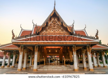 Thai architecture in front view at Ratchanadda temple.