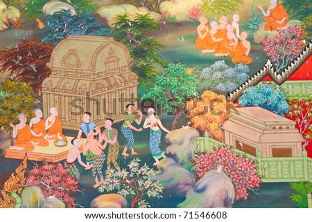 Thai art on the walls. - stock photo