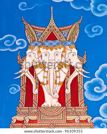 Thai art on the walls of the temple, the eastern part of Thailand. - stock photo