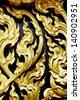 Thai art pattern wood carving - stock photo