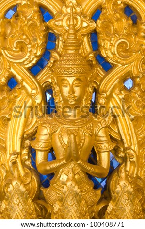 Thai art style on wall, take photo from temple in Thailand - stock photo