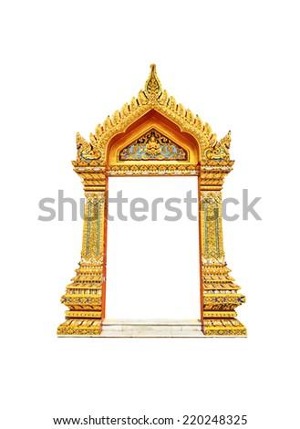 thai art temple door on isolate