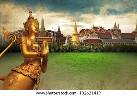 Thai art wall pattern for background - stock photo