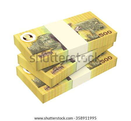 Thai baht bills isolated on white background. Computer generated 3D photo rendering