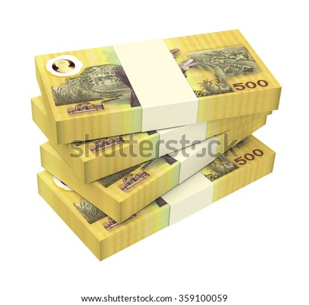 Thai baht bills isolated on white background. Computer generated 3D photo rendering.