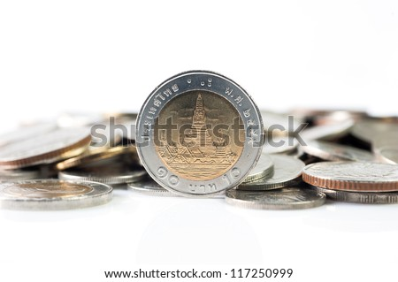 Thai baht coins, 10 baht coin on white background