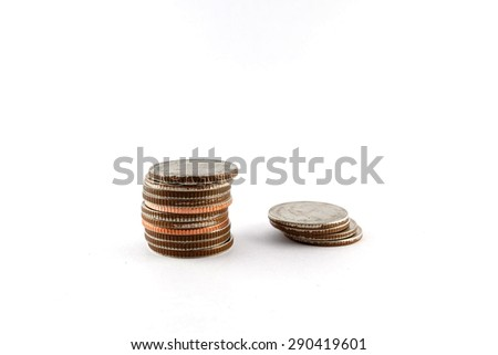 Thai Baht Coins (Five baht type) isolated on white background - stock photo