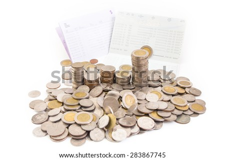 Thai baht Coins, saving account passbook, Book bank statement isolated on white background