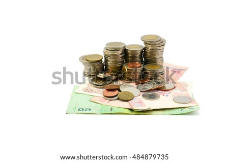Thai banknotes and coins isolate on white background