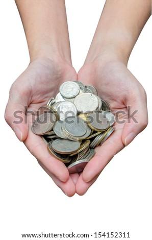 Thai bath coins in women hand - stock photo