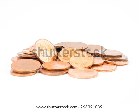 Thai Bath coins isolated on white background - stock photo
