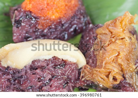 Thai black sticky rice steamed coconut, custard, shrimp - stock photo