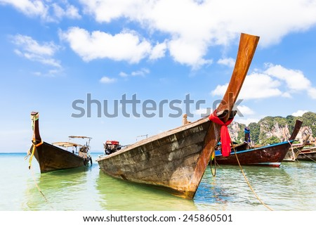 Thai boats on Railay beach, Krabi, Thailand.