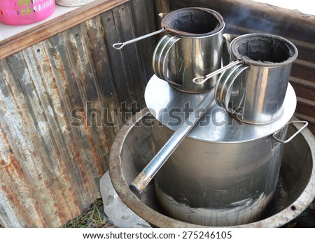 Thai boiled water pot on stove