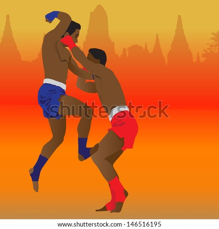 Thai boxing - stock photo