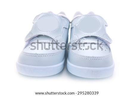 Thai boy student shoes on white background.