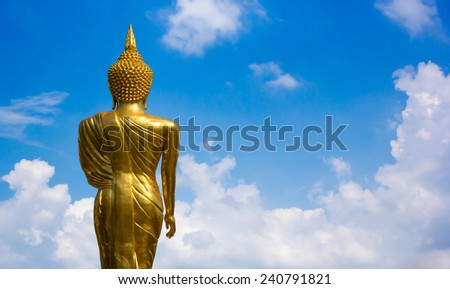 Thai Buddha Golden Statue. Buddha Statue in Thailand. - stock photo